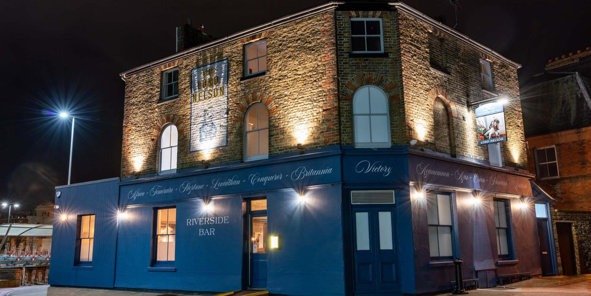 Lord Nelson Dover refurbished at night